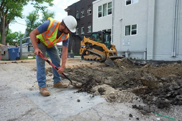 Excavating a residential parking lot